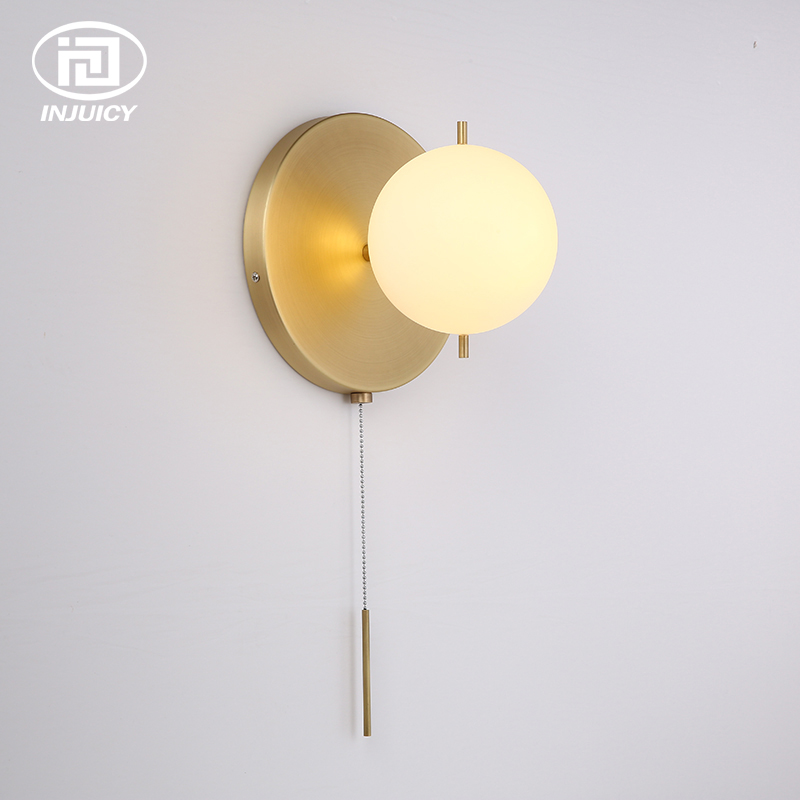 Modern Minimalist Art Style Designer Ball Glass Roof Suction Lamp Bedroom Dining Room Bedside Hall Zipper Switch Wall LampModern Minimalist Art Style Designer Ball Glass Roof Suction Lamp Bedroom Dining Room Bedside Hall Zipper Switch Wall Lamp