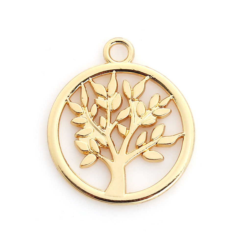 DoreenBeads Zinc Based Alloy Gold Color Charms Round Tree Pattern Fashion DIY Pendants Components 20mm x 17mm( 5/8), 10 PCs