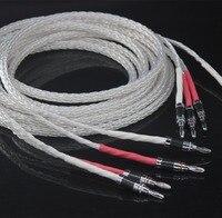 High Quality 1Pair USA Kimber 8AG Silver speaker cable hifi Carbon Fiber Banana Plug speaker wire