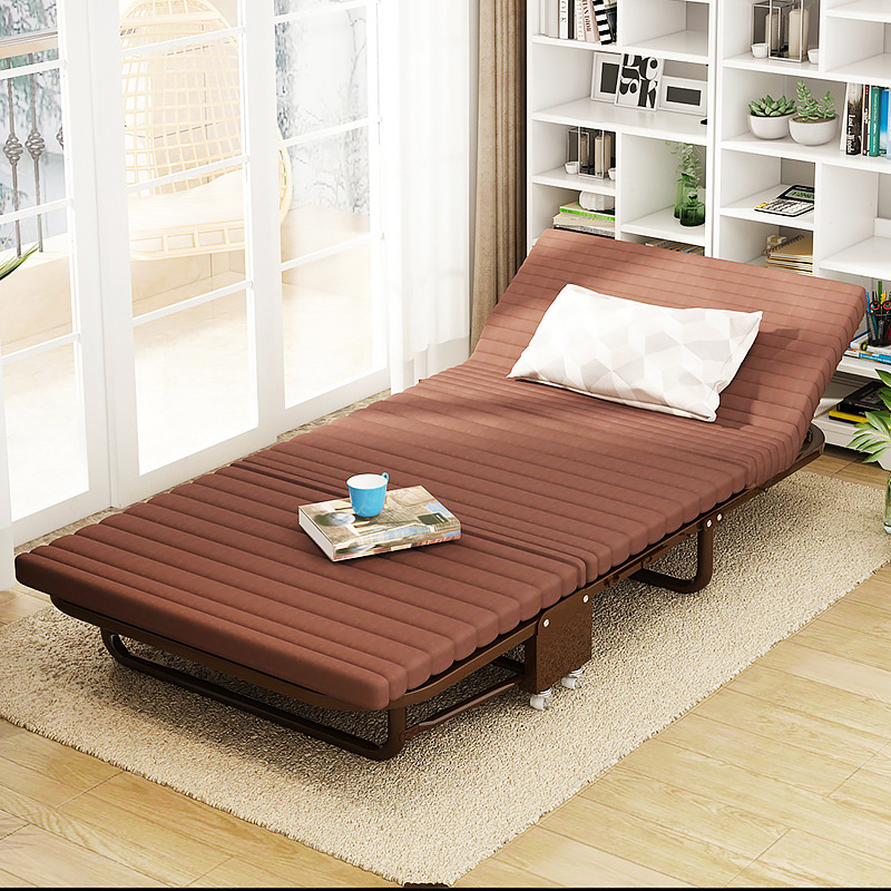 Foldable Nap Sponge Bed Portable Sleeping Sofa Bed with Pulley Adjustable Backrest Lazy Sofa Couch Installation Free