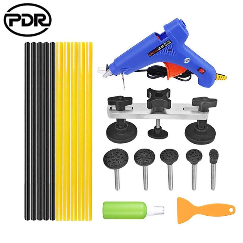 PDR Tools Paintless Dent Repair Dent Removal Dent Puller Kit Pulling Bridge Puller 110 220V Glue Gun Adhesive Glue Rods +EU plug