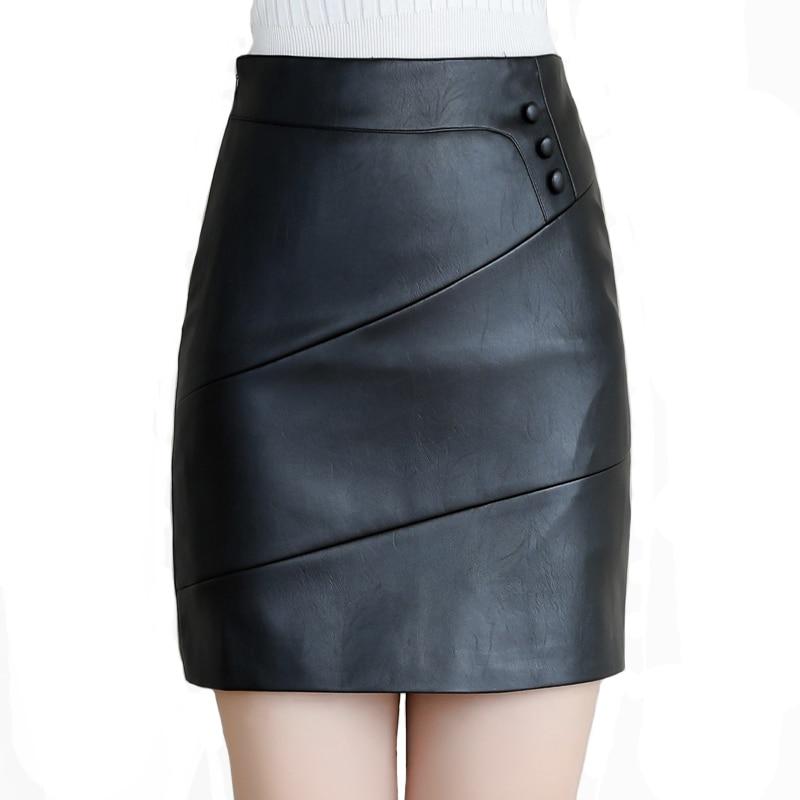 2019 Vintage Elegant Solid Women Skirt Black Red Plus Size 4XL High Waist Leather Skirt Female Button Winter Mini Pencil Skirt