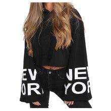 New York Printed Cropped Hoodie Long Sleeve Hip Hop Hooded Sweatshirts Casual Flare Sleeve Hipster Hoodies Women
