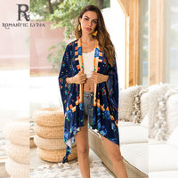 Women Floral Velvet Coat Open Stitch Long Sleeve Outerwear Vintage Female Casual Chic Cardigan