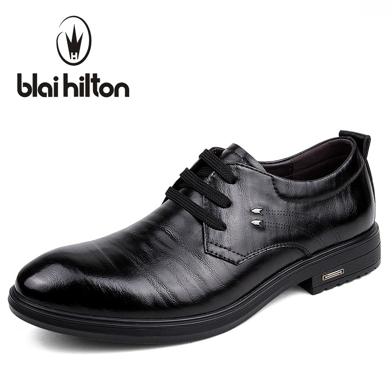 Blaibilton Business Formal Dress Men Shoes Oxford Brand Genuine Leather Classic Office Wedding Mens Casual Italian SD157296 top quality crocodile grain black oxfords mens dress shoes genuine leather business shoes mens formal wedding shoes