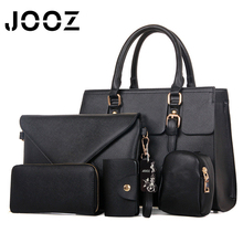 JOOZ Brand Solid PU Leather Lady Handbags 5 Pcs Composite Bags Set Women Shoulder Crossbody Messenger Bag Clutches Purse Wallet