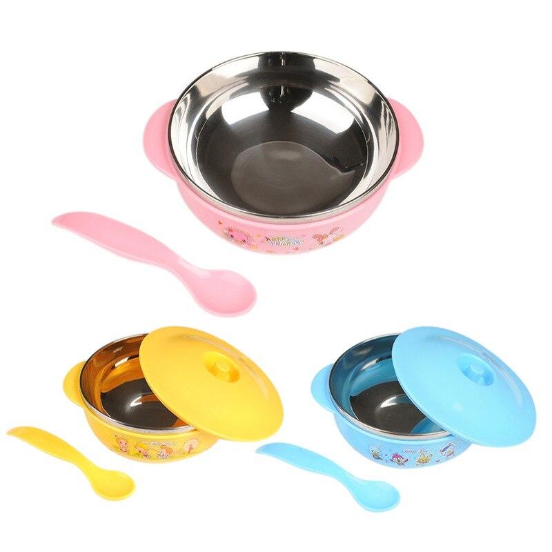 binaural vajilla de alimentaci/ón infantil taz/ón de entrenamiento para ni/ños con cuchara y Tapa del taz/ón Yellow Juego de tazones de ventosa para beb/és
