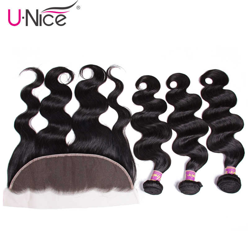 Unice Hair Malaysian Body Wave Lace Frontal Closure With Bundles 4 PCS 100% Human Hair Bundles With Frontal Remy Hair Extension