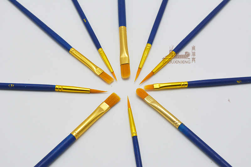 10 unids/set multifunción niños estudiantes acuarela Guache pintura pluma Nylon pelo mango de madera pincel dibujo arte suministros