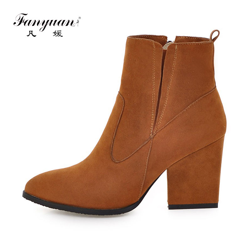 Fanyuan 2017  Flock Pointed Toe High Heels Ankle Boots Women Square Heel Boots Black Blue Women Autumn Soild Color Short Boots fanyuan women square heel ankle boots woman pointed toe buckle strap shoes mixed color zipper heels shoes woman size 32 42