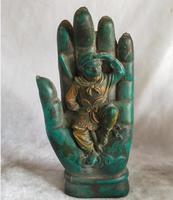 High 16CM !!! Art Collection Chinese Old Green Stone Carving Monkey King in Buddha's hands Statue,Home decoration Sculpture