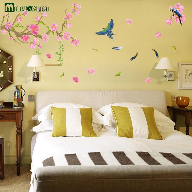 YunXi Frühjahr Pfirsich Papagei Aufkleber Wohnzimmer Schlafzimmer Flur Hintergrund  Dekoration PVC Wandaufkleber 150*130 In