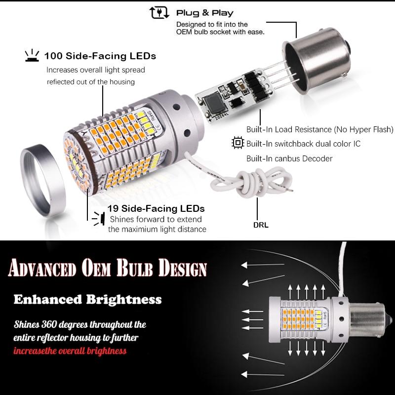 Image 2 - iJDM No Hyper Flash 21W BAU15S LED Canbus BA15S 1156 LED Switchback White/Amber LED Bulbs For Daytime Running/Turn Signal LightsSignal Lamp   -