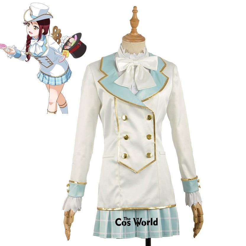 Amour Live Sunshine Aqours Alice Sakurauchi Riko manteau chemise robe uniforme tenue Anime Cosplay Costumes