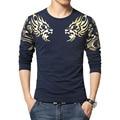 ГОРЯЧАЯ! осень Новый мужской бренд футболка Мода Тонкий печати Дракон атмосфера майка Плюс размер с длинными рукавами футболки мужчины