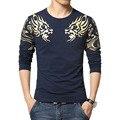 HOT!! outono dos homens Novos da marca t-shirt Da Forma de Slim impressão Dragão atmosfera t tamanho da camisa Mais longa-manga da camisa de t homens