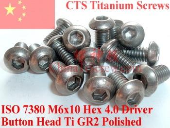 Titanium screws M6x10 ISO 7380 Button Head Hex 4.0 driver Ti GR2 Polished 10 pcs 20pcs m3 6 m3 x 6mm aluminum anodized hex socket button head screw
