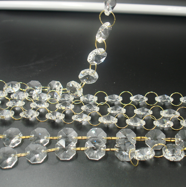 5meters/Lot Crystal Glass Strands Octagon Beads Chains With Golden Rings Connectors Bead Strands Crystal Garland Decorations