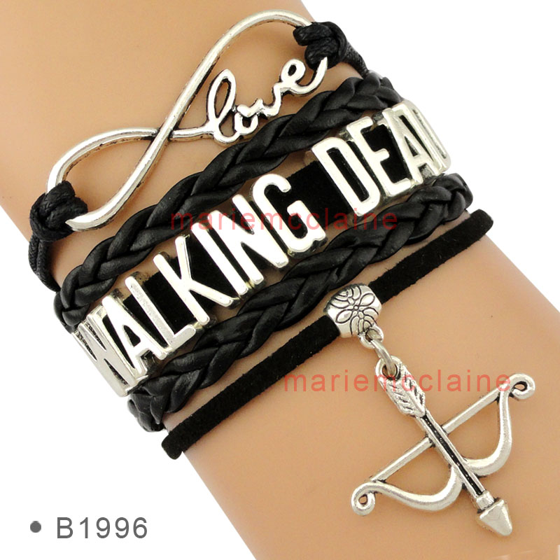 Online Shop (10 Pieces/Lot) Infinity Love DARYL DIXON Wrap Bracelet from  The Walking Dead Bow and Arrow Black Custom Any Styles/Themes