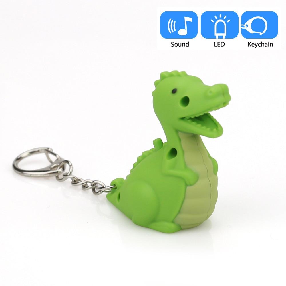 100% Kwaliteit Voertuig Auto-styling Leuke Cartoon Groene Dinosaurus Sleutelhanger Met Led Light Sound Keyfob Kids Toy Gift Aa # Dropship