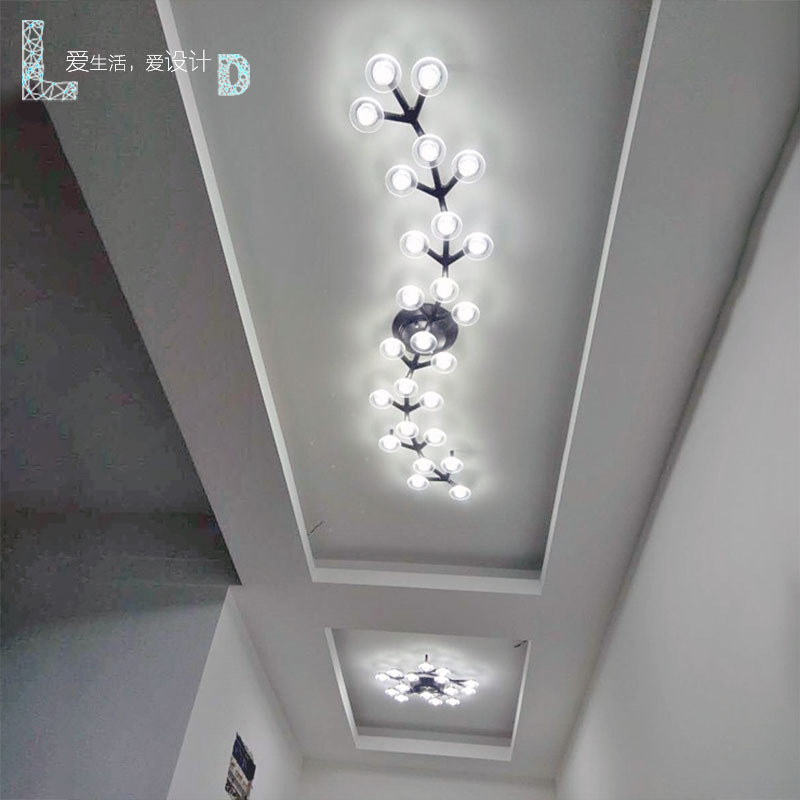 Nordic plum blossom Star art personality LED long lamp living room bedroom balcony corridor aisle ceiling lampNordic plum blossom Star art personality LED long lamp living room bedroom balcony corridor aisle ceiling lamp