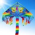 Envío de la alta calidad del arco iris niños cometas colas con mango línea de weifang kite surf kite factory juguetes al aire libre