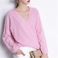 Большие размеры Коза кашемир v образным вырезом вязать Женская Мода Твердые Свободный пуловер свитер розовый 4 вида цветов один и более разм
