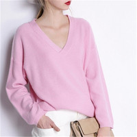 large size goat cashmere v neck knit women fashion solid loose pullover sweater pink 4color one&over size