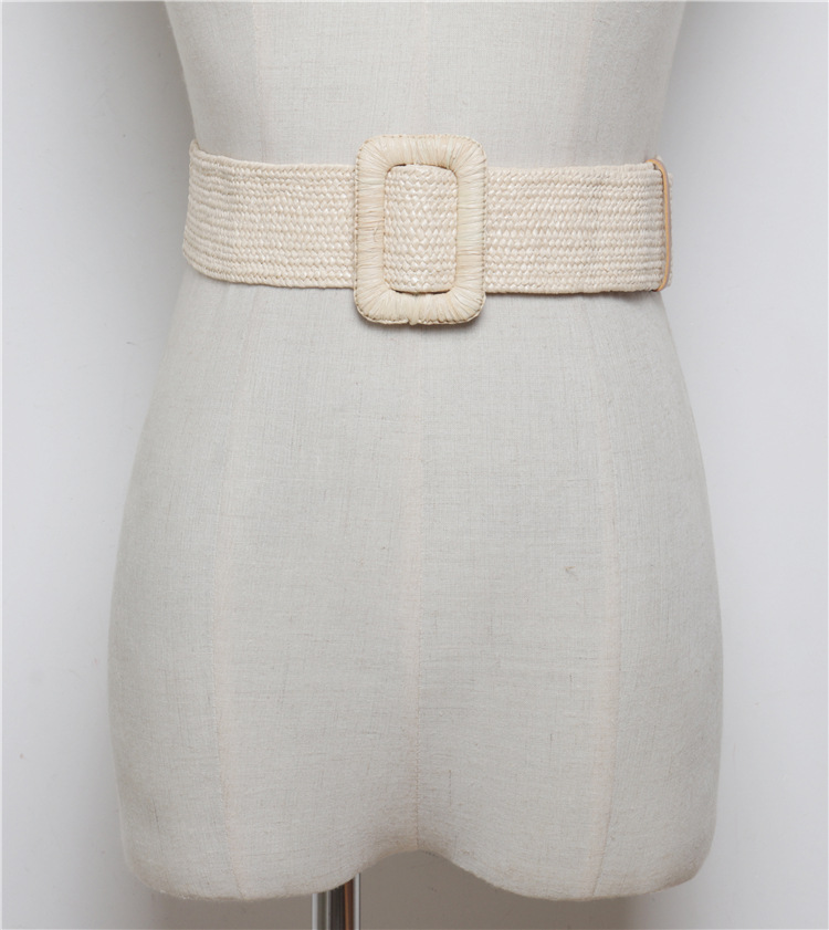 Wooden Buckle Dress Belt For Women Casual Female Braided Wide Strap Female Designer Woven Girls Elastic PP Straw Belts BZ242