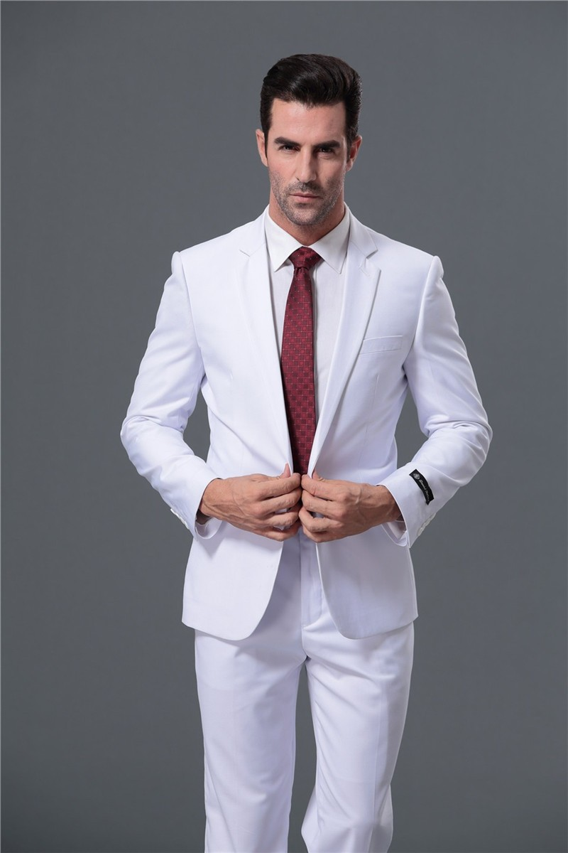 Customize Men Suits Fashionable Fit Business Red White Blue Tuxedo Wedding Jacket