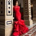 Red Satin Lace Ruffles Sirena Vestidos de Noche 2016 Sexy Sin Respaldo Capilla Tren Vestidos Formales Vestidos De Fiesta