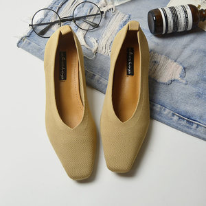 Image 5 - New Ladies sapato Pumps feminino breathable knitted V square toe moccasins loafers stretch shoes women med heels