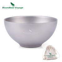 Boundless Voyage Camping Titanium Double wall Bowl Outdoor Backpacking Bowl 79.1g Ti1537B