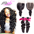 7A Peruvian loose wave with lace closure 100% unprocessed raw virgin human hair 2 bundles with lace closure queen hair products