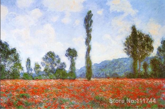 Landscape painting Impressionist Field of Poppies Claude Monet High quality Hand painted
