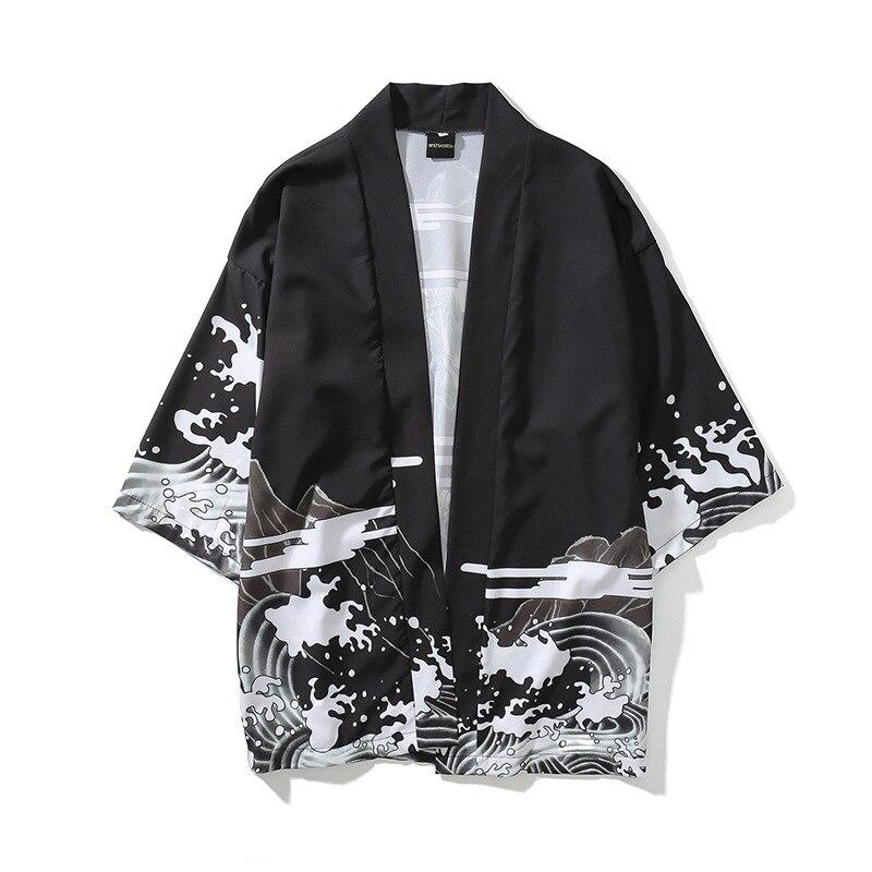 Idopy Japanese Style Kimono Cardigan Men Crane Cartoon Print Summer Cardigan Women Black Long Beach Shirts For Men