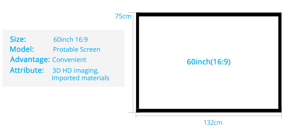 Rigal 60 100 inch 16:9 Portable Projector Screen Plastic Projection Screen Matte White for Wall Mounted Home Theater Bar Travel 13