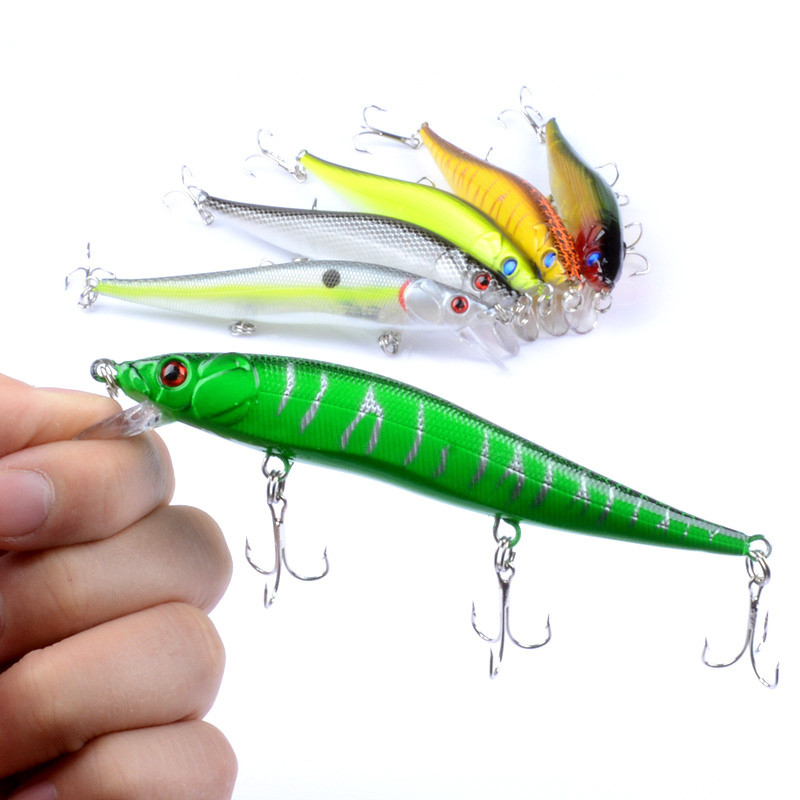 1PCS 11.5cm 13.7g Sinking Minnow Crankbait Hard Fishing Bait 3D Eyes Tight Wobbler with 3 fishing hooks fishing lure RM029 new 12pcs 7 5cm 5 6g fishing lure minnow hard bait sea fishing tackle crankbait fishing kit jig wobbler lures bait with hooks