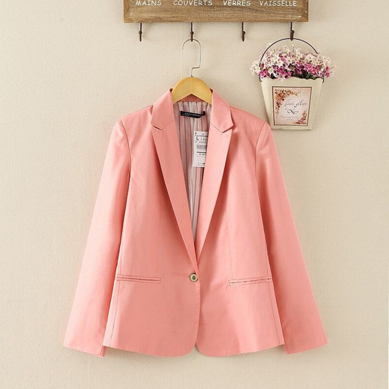 NEW 2018 Spring Autumn Blazer Women Suit Foldable Brand Jacket Made Of Cotton & Spandex Ladies Refresh Blazers Candy Color