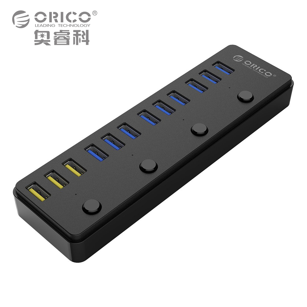 ORICO 60W 12 Port USB 3.0 Hub including 3 BC1.2 Charging Port and 4 Power Switches LED Indicators (P12-U3)