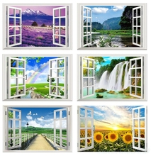 New Year Diy Diamond Painting waterfall outside the window Full Embroidery Christmas gift 5D Mosaic Rhinestones