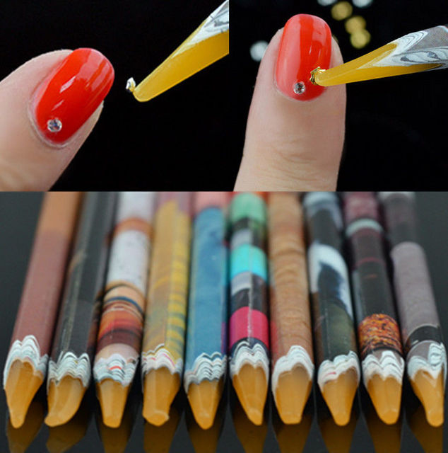2PCS Crayon Wax Dotting Pen Pencil Self adhesive Rhinestones Gems ...