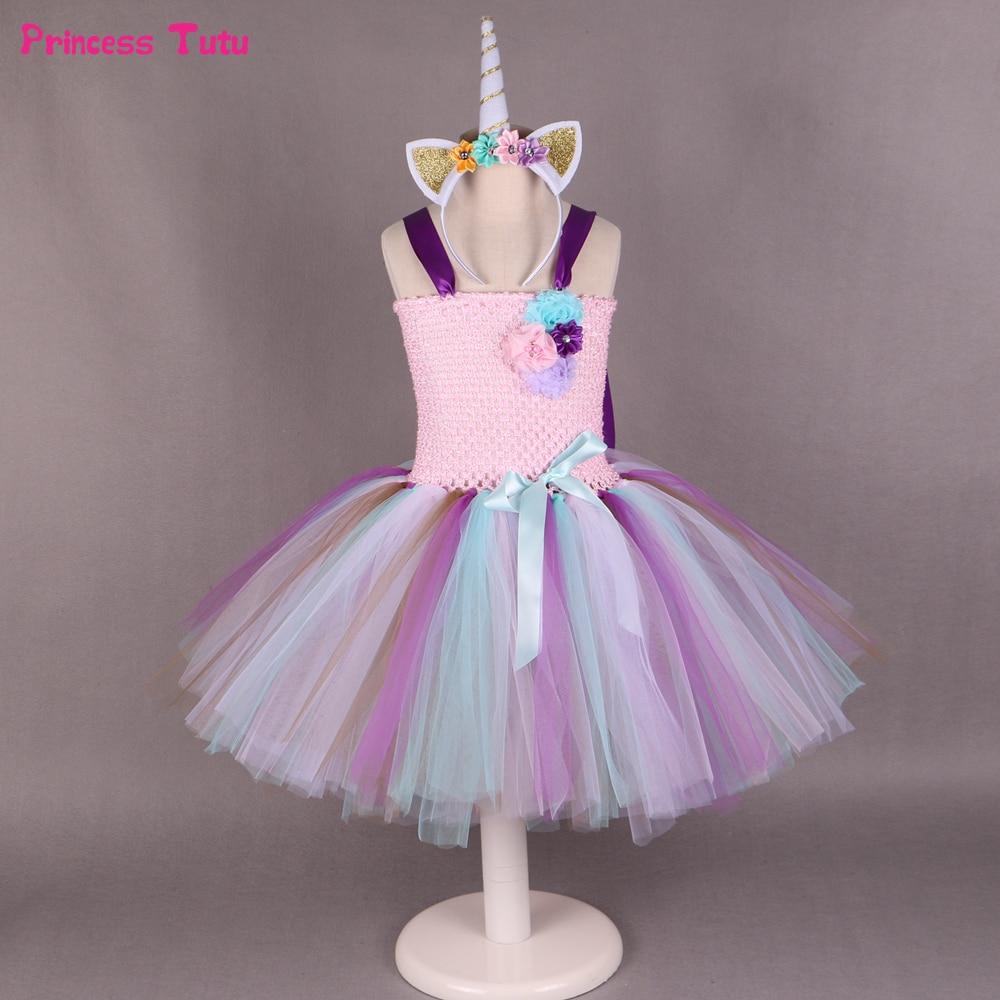 1 set children girls pony unicorn tutu dress princess