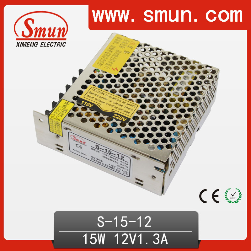 ✓15W 12V 1.3A Single Output Switching Mode Power Supply SMPS S-15 ...