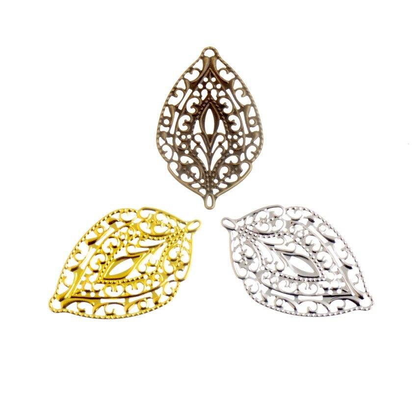 Free Shipping 25Pcs Antique Bronze/Gold Color/Silver Leaf Filigree Wraps Connectors Metal Crafts Gift Decoration DIY 57x36mm