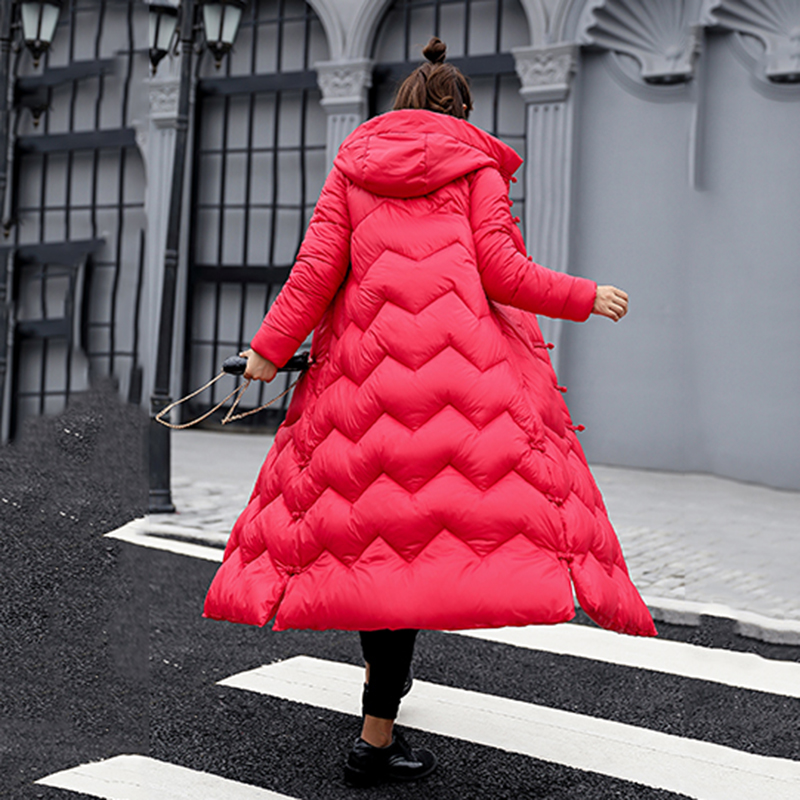 Colorcotton Parkas Femme Slim Capuchon red Chaud Solide Longues Hiver Rembourré rose À Manteau Nouveaux Outwear Long Fit Manches Black 2018 Veste Coton Dan334 TZSW8