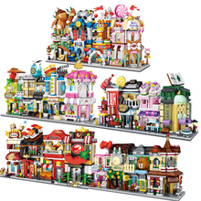 Micro-drilled Mini Street View Cartoon Theme Compatible Legoingery City Architecture Building Blocks Girl DIY Toys Gift