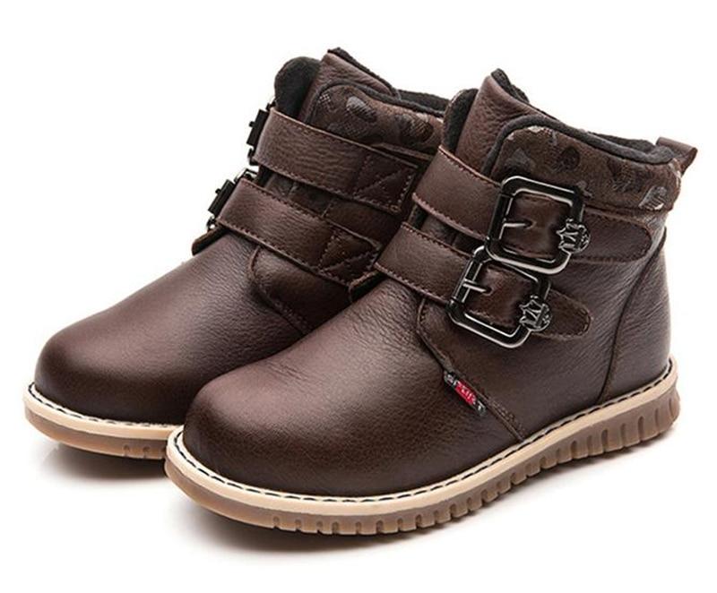 NEW 1pair Kids Genuine Leather thicken Children Snow Boots Boy winter warm Child Boot
