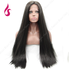 Promotion  Long Silk Straight Natural 1b Color Black  Synthetic Lace Front  Hair Wigs!