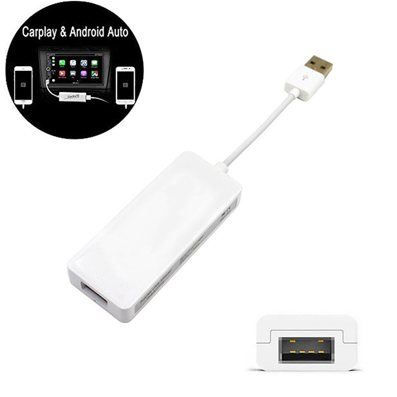 Car Carplay For Apple Android Auto Connected For Navigation Player Mobile Phone USB Adapter Cable Link Dongle White